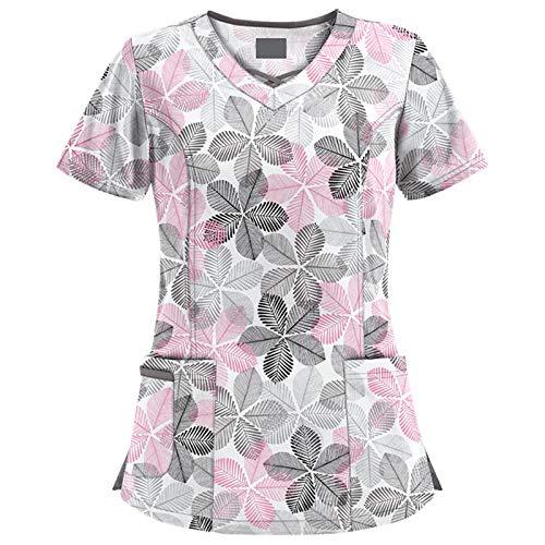 Yowablo Bluse Frauen Kurzarm Neck Tops Arbeitskleidung (S,2Weiß)