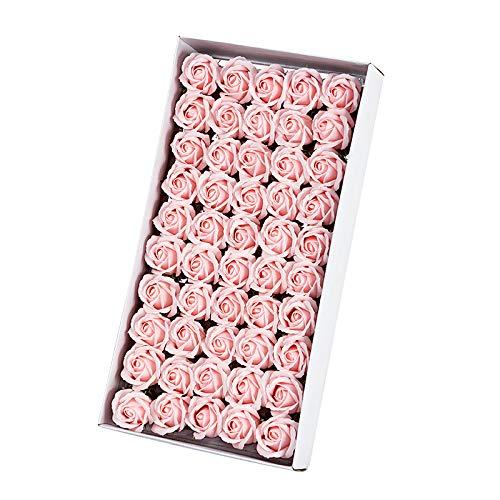 TOOGOO 50Pcs Floral Parfumée Savon De Bain Rose Pétales De Fleurs Plante Huile Essentielle Savon Ensemblede Bain en Forme Cadeaux De Fête De Mariag Cadeaux Rose Clair