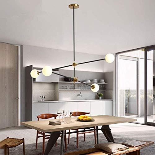 Lámparas de techo, iluminación de araña, lámpara de techo con revestimiento LED, de hierro, moderna y contemporánea, 6 cabezales, lámpara molecular mágica de cristal