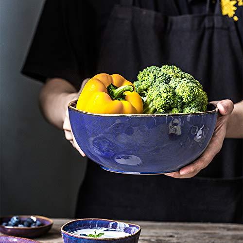 Hoteck Salatschüssel aus Keramik, Schüsseln für die Küche,Groß Porzellan Salatschale,Multifunktional als Servierschüssel Oder Suppenschale 22cm,Blau-braune Farbe