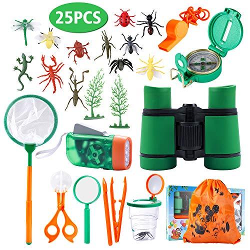 Draussen Forscherset Spielzeug, Kinder fernglas 25 oder 6 Set Kids Adventurer Explorer Set mit Bug Catcher Pinzette Insect Viewer Kompass Lupe & Schmetterlingsnetz für Camping Fernrohre (A Modell)