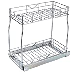 TQVAI Pull Out Cabinet Organizer 2 Tier Slide Wire Shelf Basket - Request at Least 12 inch Cabinet Opening, Medium Top