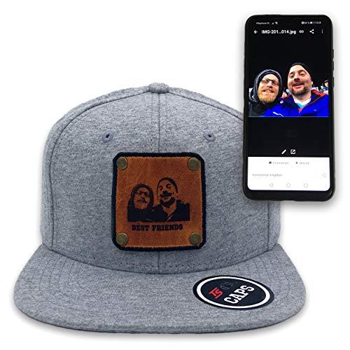TS Caps Baseball Cap Basecap Snapback grau mit eigenem Text Logo oder Bild Foto individualisierbares Lederpatch gelasert