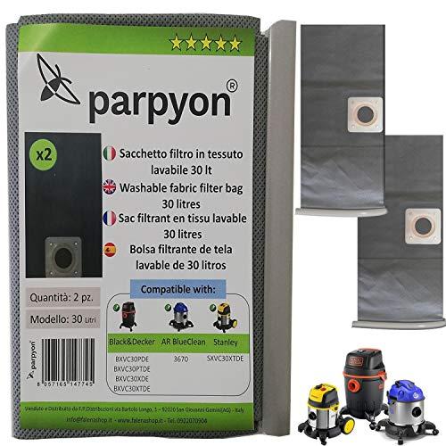 Parpyon® Sacchetti aspirapolvere per Bidone aspiratutto Balck Decker – Annovi reverberi 30LT Stanley N. 2 Filtri aspirapolvere Filtro Hepa in Tessuto lavabile Accessori Aspirapolvere (30lt B&D-AR)