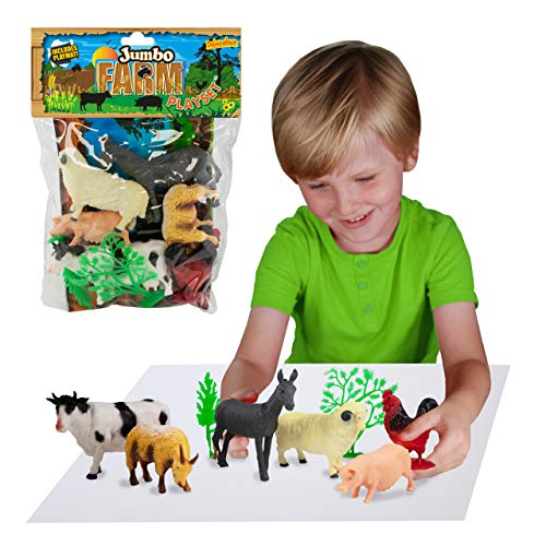 Farm Animals Jumbo Playset by Deluxebase. Large bag of animal farm figures. This farm toy figures set includes a toy cow, pig, sheep ,donkey, toy goat and chicken. The perfect farm set for kids