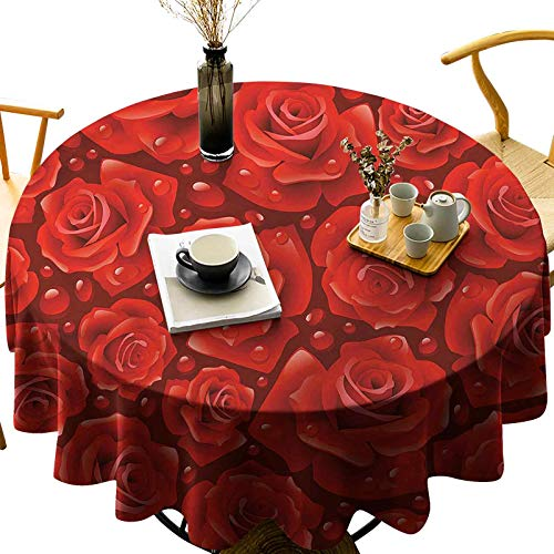Table Cloths Washable Quick Drying Water Resistant Round Red Roses Water Rain Drops Diameter 60 inch Polyester Tablecloths for Round Tables