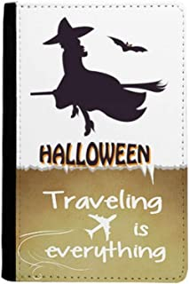 Witches Ride Broomsticks Bat Halloween Traveling quato Passport Holder Travel Wallet Cover Case Card Purse
