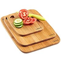 LIERAS-3 Pezzi 100% Bambù Set Tagliere da Cucina Set da Taglio in Bambù