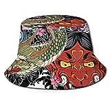 Dnwha - Gorra de verano e invierno para caza y pesca al aire libre, cubierta de barril neutro, cara de fantasma japonés con crisantemo peonía y dragón