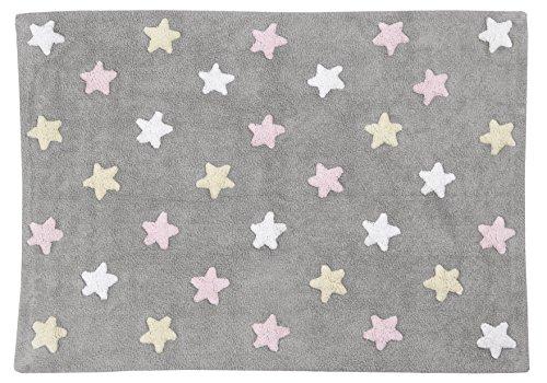 Alfombra Lavable Lorena Canals con diseño de Estrellas Tricolor (Gris/Rosa)