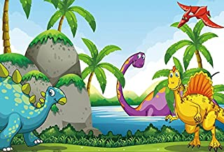 Baocicco Vinyl 5x3ft Cartoon Dinosaurs Backdrop Photography Background Prehistoric Jurassic Period Mountains Lake Water Cute Baby Kid Birthday Party Decoration Infant Children Photo Portraits Prop