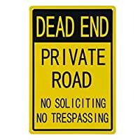 「行き止まり-私道、勧誘なし、立ち入り禁止」標識-12 x8警告標識。本当のサイン-20x30cm