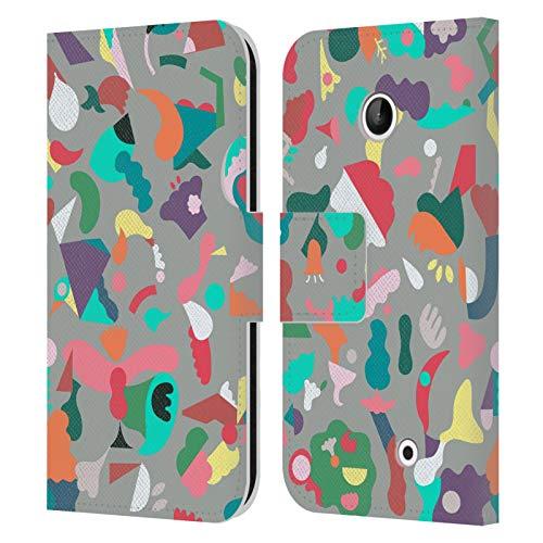 Head Case Designs Licenza Ufficiale Ninola Animali Immaginari Forme Grigio Astratto 3 Cover in Pelle a Portafoglio Compatibile con Nokia Lumia 630