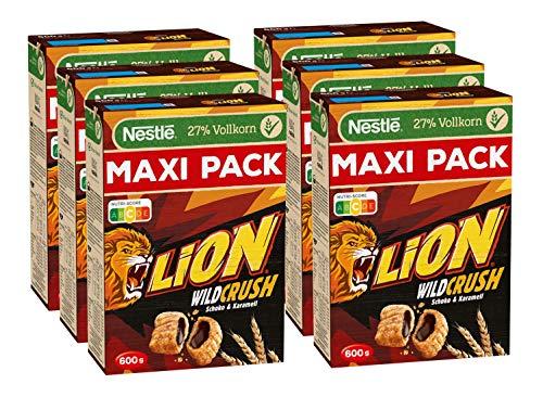 Nestlé Lion WildCrush Maxipack, knusprige Frühstücks-Cerealien mit Schokoladenfüllung & Karamellgeschmack, Getreide-Cerealien mit 27% Vollkorn, 6er Pack (6 x 600g)