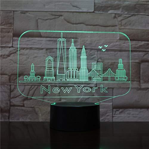 Ilusión 3D Decoración Del Dormitorio Luces Nocturnas Famoso Edificio De Nueva York Led Lámpara De Mesa Niños Regalo Light Up Toys Lámpara Para Dormir,Interruptor Táctil De 16 Colores