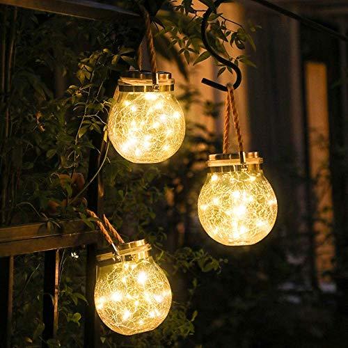 Crackle Glaskugeln Lichter | Ø 8, 10, 12 cm Kugellampe | Dekorative Innen Tischbeleuchtung | Warm Weiße LED | Batteriebetrieben Leuchtkugel | Stimmungslicht Nachtlicht Tischlampe [Energieklasse A++]