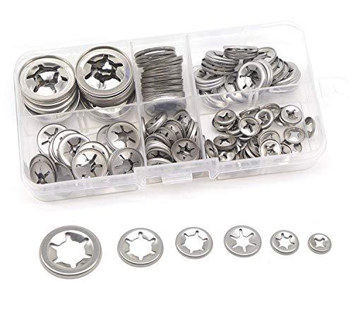 Starlock Sicherungsscheiben-Sortiment, Zahnscheiben, 304 Edelstahl, M3/ M4/ M5/ M6/ M8/ M10/ M12, 150 Stück