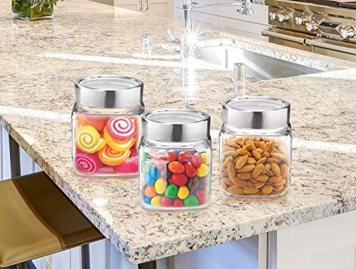 TREO Glass Jar Set- 180 ml, 3 Pieces, Transparent
