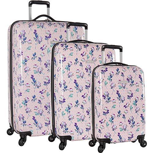 Nine West 3 Piece Hardside Spinner Luggage Suitcase Set, 9 Floral Pastel