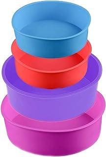 Moldes de silicona para tartas, 4 unidades, redondos, para tartas, 4 pulgadas, 6 pulgadas, antiadherentes, bandeja para hornear para cumpleaños, bodas, aniversarios (azul/rojo/púrpura/rosa)
