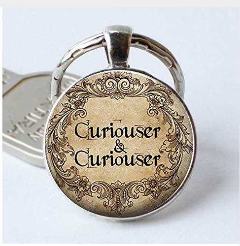 Schlüsselanhänger mit Zitat aus Glas, Cabochon, Motiv Neugier und Neugier