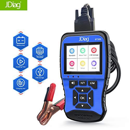 JDIAG obd2 Diagnosegerät für alle Fahrzeuge mit 100 bis 2000 CCA-Unterstützung, OBD 2 Batterietester (zum Laden, Starten und Wellenformen) Auslesegerät Autodiagnosegerät Auto