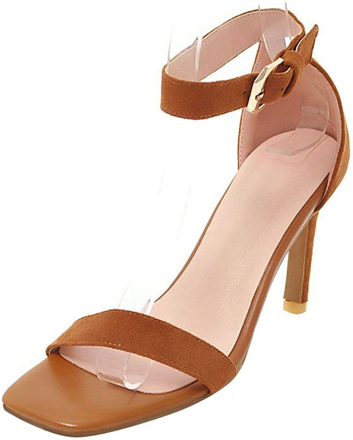 Ghssheh Women's Sexy Buckle Ankle Strap Sandals Faux Suede Open Toe Stiletto High Heels Work shoes Nude 4 M US