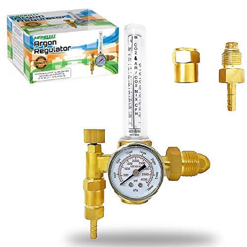 Manatee Argon Regulator TIG Welder MIG Welding CO2 Flowmeter 10 to 60 CFH - 0 to 4000 psi pressure gauge CGA580 inlet Connection Gas Welder Welding Regulator Accurate Gas Metering System