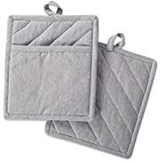 """DII Cotton Chambray Pot Holders with Pocket, 9x8"""" Set of 2, Machine Washable and Heat Resistant Pocket Mitts for Kitchen Cooking and Baking-Gray"""