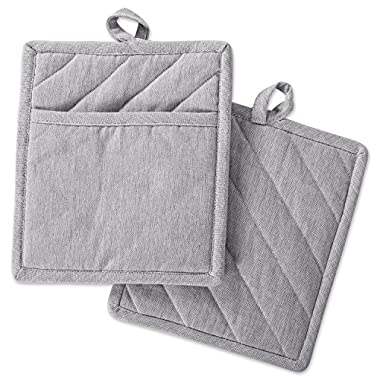 DII Cotton Chambray Pot Holders with Pocket, 9x8 Set of 2, Machine Washable and Heat Resistant Pocket Mitts for Kitchen Cooking and Baking-Gray