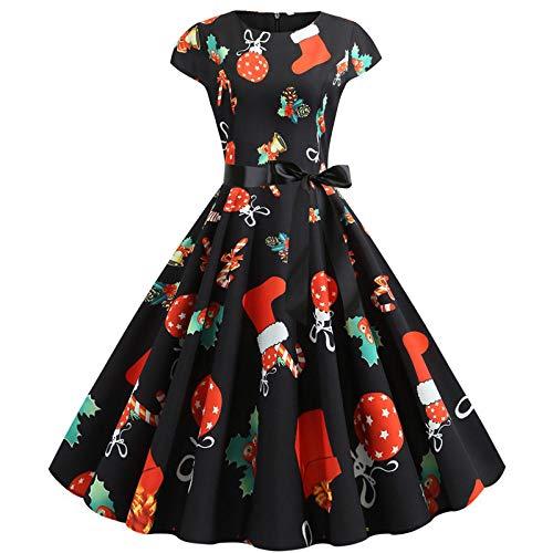 Averyshowya SantaClausKostümweihnachtskleider fur damenWeihnachtskleid Red Plaid Printing Elegante Party Frauen Kurzarm Casual Pin Up Midi Kleid Robe @ H_M