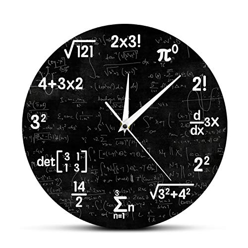 gongyu Ecuaciones y notaciones matemáticas Pizarra de matemáticas Reloj de Pared Geek Regalos educativos para niños Maestros Decoración de Aula Escolar
