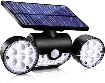 Topmante Upgrade Solar Lights Outdoor,Bright Motion Sensor Security Light Solar Wall Lights with Dual Head Spotlights LED Waterproof 360° Adjustable Outside Lighting for Garden Garage Patio (1 Pack)