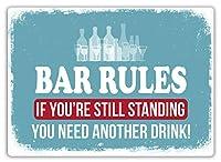 Bar Rules 注意看板メタル安全標識注意マー表示パネル金属板のブリキ看板情報サイントイレ公共場所駐車ペット誕生日新年クリスマスパーティーギフト