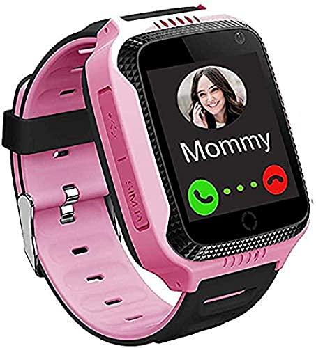 Reloj inteligente para niños y niñas, reloj inteligente con GPS, reloj de estudiante con pantalla táctil con llamada SOS para chat de voz, linterna, podómetro, reloj despertador, color rosa y rojo