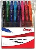 Pentel EnerGel Bolígrafos, color NOIR/BLEU/ROUGE/VERT/VIOLET/ROSE/ORANGE/BLEU POCHETTE DE 8