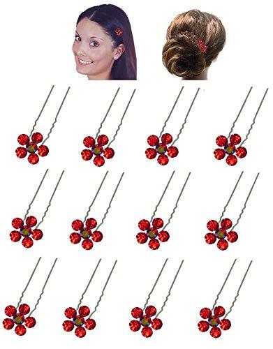 Douzaine Lot Bâtons de cheveux avec fleur de cristal Ornement 7/40,6 cm de diamètre Nf83075–1hsflr-d