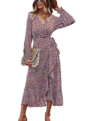 Ajpguot Abito lungo da donna, stile boho, elegante, con scollo a V, a maniche lunghe, abito da sera, con stampa floreale, Colore: rosso, XL
