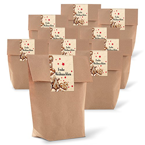 25 braune natur Geschenk-Tüten Verpackung 14 x 22 x 5,6 cm Kraft-Papier + 25 Aufkleber FROHE WEIHNACHTEN PLÄTZCHEN Geschenkverpackung weihnachtlich give-away Kunden-Geschenk Geschenkpapier