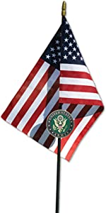 Allied Army Veteran Grave Marker with 30 Inch Tall American Cemetery Flag, Officially Licensed Military Seal