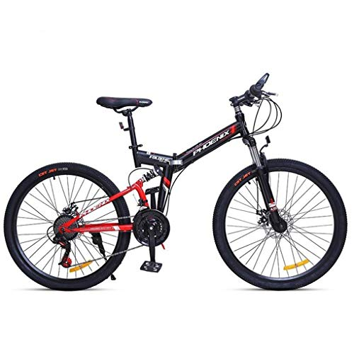 JLFSDB Mountain Bike,Foldable Unisex Mountain Bicycles,Carbon Steel Frame,Dual Suspension and Dual Disc Brake,24/26inch Wheels (Color : Red, Size : 26inch)