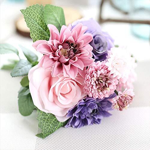 rainbowhh Mezcla Combinación Hermosa Novia Mano Flores Decoración de la Boda Flor Seda Dalia Artificial Rosa Claveles…