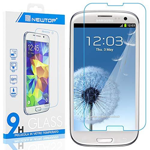 N NEWTOP [1 PEZZO] Pellicola GLASS FILM Compatibile con Samsung Galaxy S3 (i9300), Fina 0.3mm Durezza 9H Vetro Temperato Proteggi Schermo Display Protettiva Anti Urto Graffio Protezione