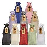 DaricowathX 10 bolsas de vino de yute, 35 x 16 cm, bolsas de regalo de arpillera con cordón