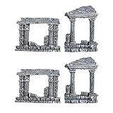UKCOCO Decoración para acuario, 4 piezas, columna romana, modelo simula la puerta romana para tanque de peces