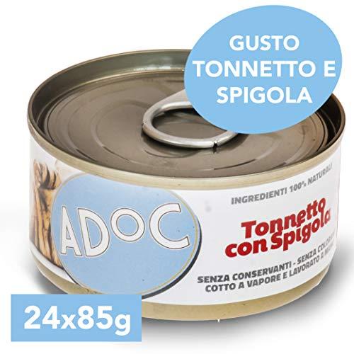 Adoc - Cibo Umido per Gatti Adulti con Ingredienti Naturali Tonnetto con Spigola - 24 lattine da 85gr