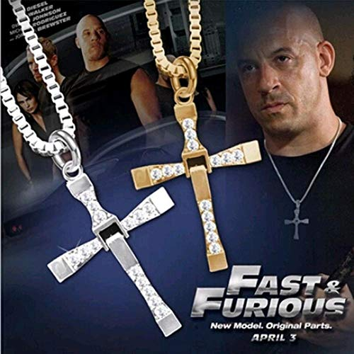 HUAI Fast and Furious 6 7 hard gas actor Dominic Toretto/cross necklace pendant,gift for your boyfriend (Main Stone Color : Silver)