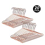 Amber Home 17' Heavy Duty Rose Copper Gold Metal Shirt Coat Suit Clothes Hanger Pants Hangers Strong Space Saving Slim with Notches (Copper, 20 Pack)