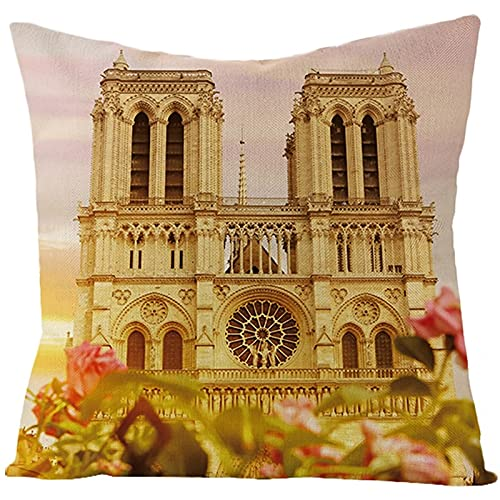 Agoble Federa Cuscino Marrone Chiaro Notre Dame De Paris e Fiori, Biancheria Copricuscini Letto 50x50cm/20x20 Inches