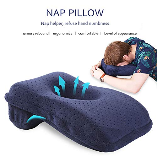 SOMIDE Nap Sleeping Face Pillow, Memory Foam Slow Rebound Face Down Desk Pillow Sleeper Back Support, Hollow Design, Removable Washable Velvet Cover Blue